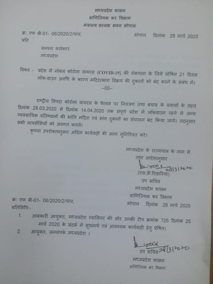 मध्यप्रदेश शासन ने 14 अप्रैल तक शराब एवं भांग दुकान बंद करने का जारी किया आदेश