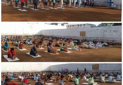जिला जेल सीधी में योग दिवस के उपलक्ष में बंदियों को योगाभ्यास कराया गया